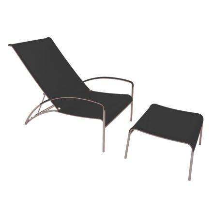 Deckchair QT195, Relaxchair von Royal Botania, Edelstahlgestell, Bespannung Batyline schwarz