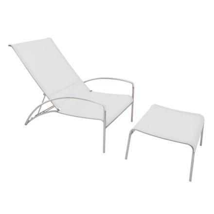 Deckchair QT195, Relaxchair von Royal Botania, Edelstahlgestell, Bespannung Batyline weiß