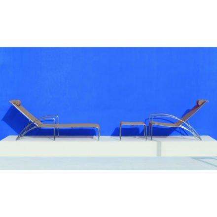 Deckchair und Sonnenliege QT195 von Royal Botania, Gestell Edelstahl, Bespannung Batyline cappuccino