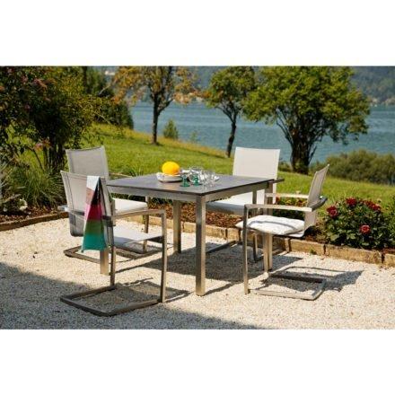 """Diamond Garden """"Venedig"""", Freischwinger, Edelstahl, Textilgewebe silber/weiß mit Gartentisch """"San Marino"""", Tischplatte HPL Beton dunkel"""