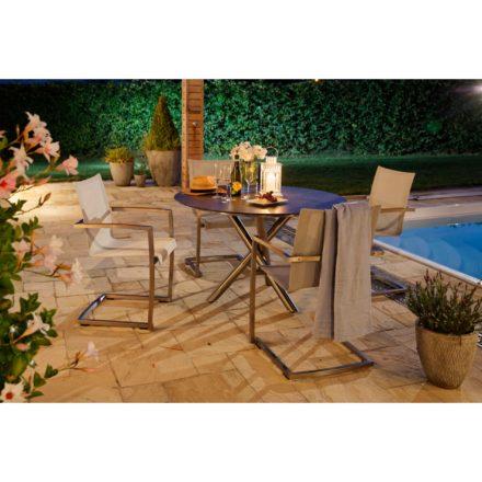 """Diamond Garden Freischwinger """"Venedig"""", Edelstahl, Textilgewebe silber/weiß, Gartentisch """"San Marino"""", rund, Edelstahl, Tischplatte HPL Beton dunkel"""