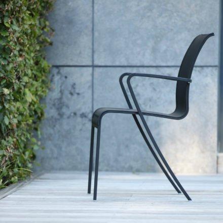 """Gartenstuhl """"QT 55"""" von Royal Botania, Gestell pulverbeschichtetes Edelstahl in schwarz, Textilgewebe schwarz"""
