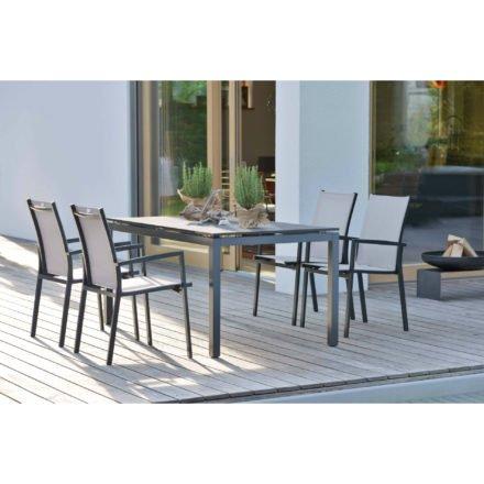 """Stern Gartenmöbel-Set mit Stuhl """"New Levanto"""" und Gartentisch Aluminium/HPL, Variante Alu anthrazit, Textilgewebe silber"""