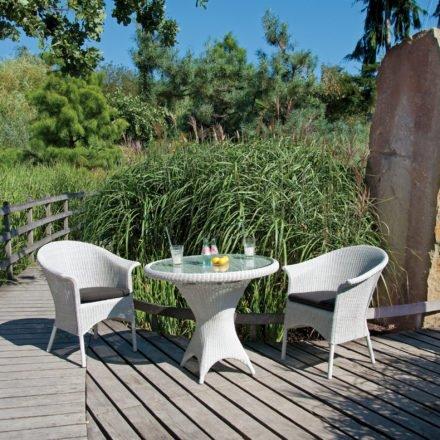 """SonnenPartner Sessel """"Cayman"""" und Gartentisch """"Bonaire"""", Aluminium und Kunststoffgeflecht white-washed"""