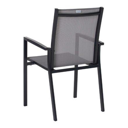 "Stern Stapelsessel ""New Levanto"", Gestell Aluminium anthrazit, Sitzfläche Textil silber"