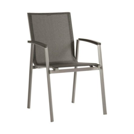 "Stern Stapelsessel ""New Top"", Gestell Aluminium graphit, Sitzfläche Textilgewebe silbergrau, Armlehnen Aluminium anthrazit"