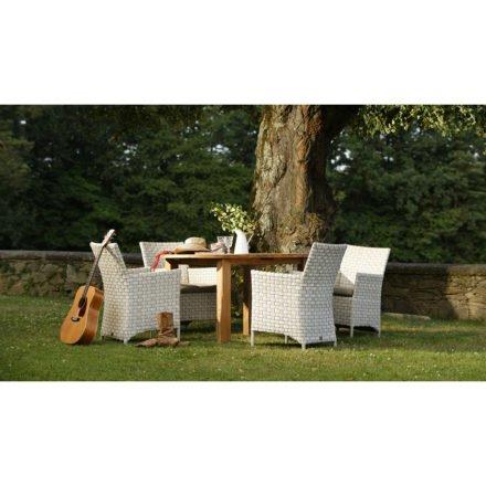 Gartenstuhl Jackson in white shell von Diamond Garden, mit Tisch Belmont rund