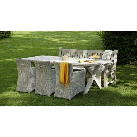 Gartenstuhl Azure in whitewash von Diamond Garden, mit Tisch Boulogne 240 cm und Bank Chateau 3-sitzer