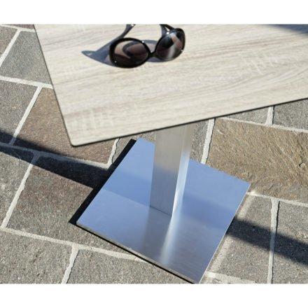 "Diamond Garden ""Viana"" Tischgestell, Aluminium gebürstet, Ausführung eckig mit HPL-Tischplatte DiGa Compact, Eiche sägerau"