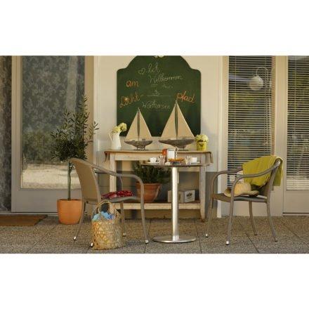 """Diamond Garden """"Viana"""" Gartentisch, Aluminium gebürstet, Ausführung rund und """"Barbados"""" Gartenstuhl, Polyrattan grau"""