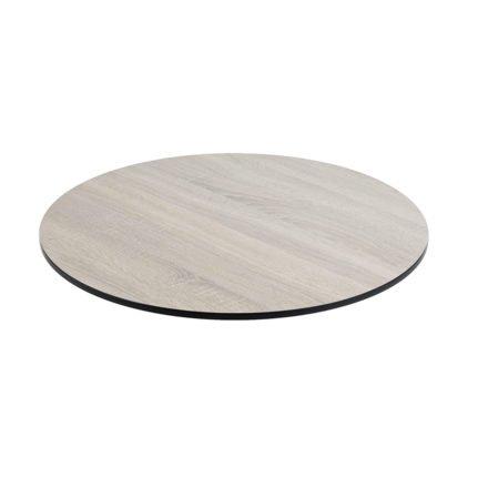 Tischplatte DiGa compact (HPL) von Diamond Garden, Eiche sägerau, Durchmesser 68 cm, 20° Fase