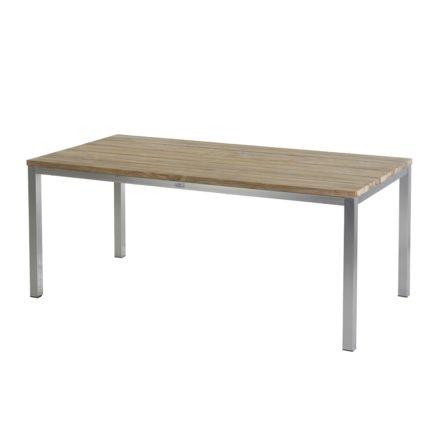 "Diamond Garden ""Barletta"", Gartentisch, Gestell Edelstahl, Tischplatte Teakholz recycelt, breite Lamellen, 180x90 cm"