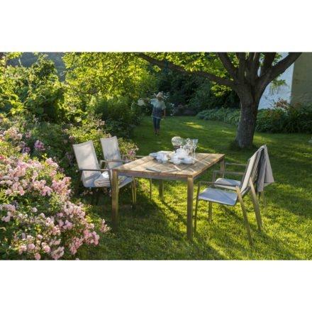 """Diamond Garden, Gartentisch """"Barletta"""", Edelstahl und Teakholz recycelt, Gartenstuhl """"Venedig"""", Edelstahl und Textilgewebe silber/weiß"""