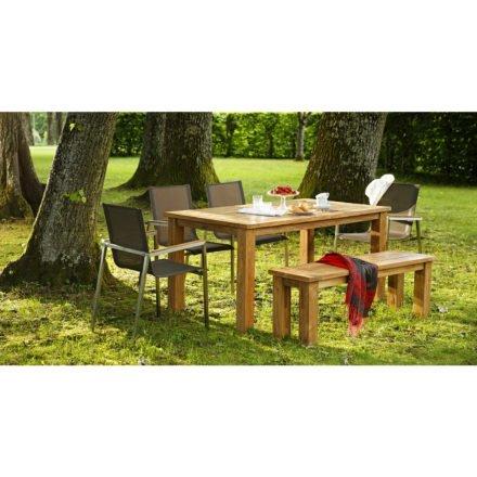 Gartentisch Belmont, Bank Belmont natur und Stuhl Rimini taupe, von Diamond Garden