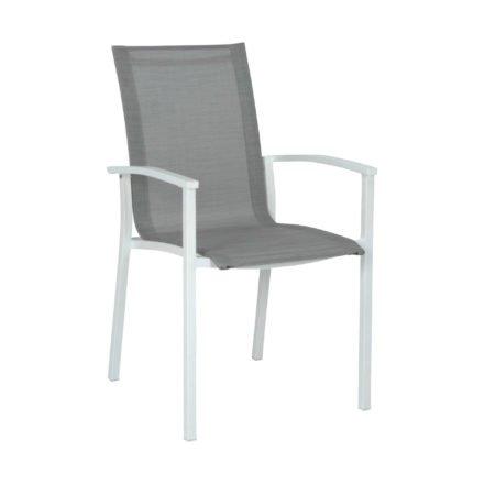 """Gartenstuhl """"Evoee"""" von Stern, Gestell Aluminium weiß, Textilgewebe silber, Armlehnen Aluminium weiß"""