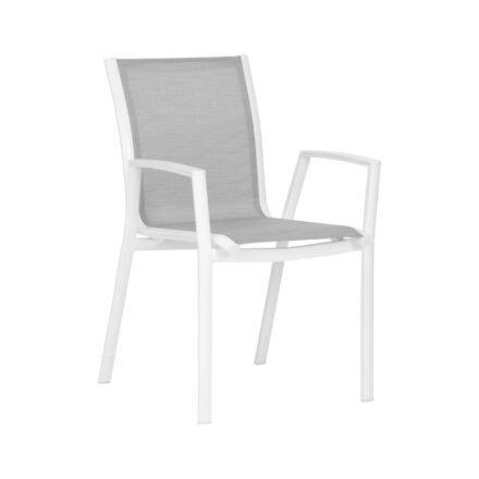 """Stern Stapelsessel """"Ron"""", Gestell Aluminium weiß, Sitz & Rücken aus Textilgewebe silber"""