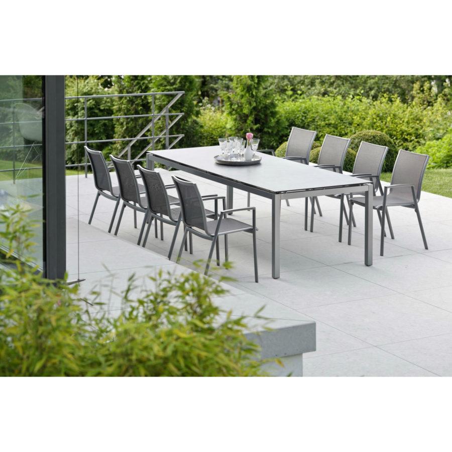 stern gartenm bel set mit stuhl ron und tisch aluminium graphit hpl vintage grau. Black Bedroom Furniture Sets. Home Design Ideas