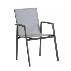 "Stern Stapelsessel ""New Top"", Gestell Aluminium anthrazit, Sitzfläche Textilgewebe silber, Armlehnen Aluminium anthrazit"