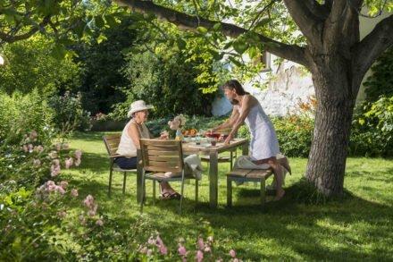 """Diamond Garden """"Piero"""" Gartentisch und -bank, Gestell Edelstahl, Sitzfläche Teakholz recycelt, Gartenstuhl """"Treviso"""""""