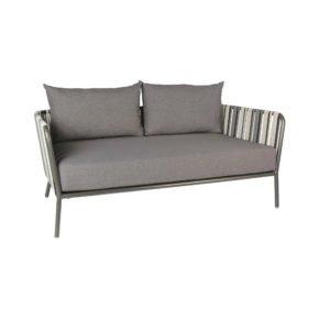 2-Sitzer Loungesofa von Stern, Gestell Aluminium anthrazit, Textilgewebe grau zweifarbig, Kissen dunkelgrau