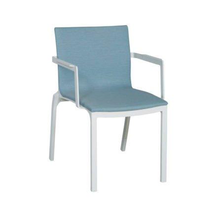 Gartenstuhl Scala von Stern, Gestell Aluminium weiß, Sunbrella-Bezug eisblau