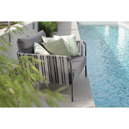 Gartenstuhl Space von Stern, Loungesessel, Gestell in anthrazit, Textilgewebe in grau zweifarbig
