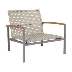 "Stern Loungesessel ""Lucy"", Gestell Aluminium taupe, Sitz- und Rückenfläche Polypropylen natur, Armlehnen Teakholz"
