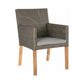 """Stern """"Pep"""" Sessel, Sitzfläche Geflecht basaltgrau, Teakbeine und Sitzkissen, seidengrau"""