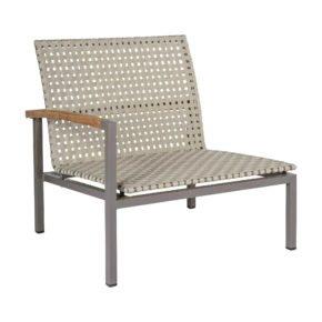 """Stern Lounge-Seitenelement """"Lucy"""" mit Teak-Armlehne rechts, Gestell Aluminium taupe, Sitz- und Rückenfläche Polypropylen natur"""