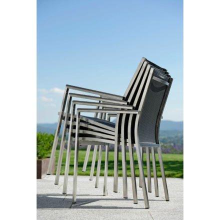"Stern Stapelsessel ""Cardiff"", Gestell Edelstahl, Sitzfläche Textilgewebe silbergrau, Armlehnen Aluminium anthrazit"