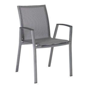 "Stern Stapelsessel ""Ron"", Gestell Aluminium graphit, Sitz & Rücken aus Textilgewebe silbergrau"