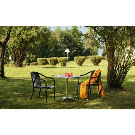 """Diamond Garden Gartentisch """"Leon"""", Aluminium poliert mit 3 Füßen, mit Gartenstuhl """"Barbados"""""""