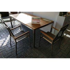 "Gartenmöbel-Set ""Mallorca/Rotterdam"", Gestell Edelstahl, Tischplatte Teakholz, Größe: 200/260x100 cm"