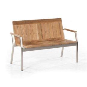 """Gartenbank """"Eclipse"""" von SonnenPartner, Gestell Edelstahl, Sitzfläche Teakholz, 2-Sitzer"""