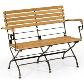 """SonnenPartner Gartenbank """"Oxford"""", Gestell aus Eisen, Sitzfläche Teakholz"""