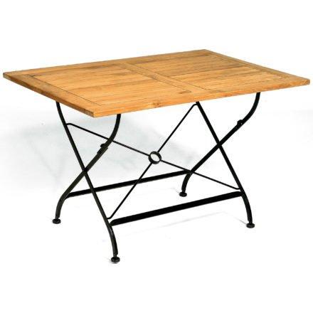 """SonnenPartner Gartentisch """"Oxford"""", Gestell aus Eisen, Tischplatte aus Teakholz, rechteckig"""