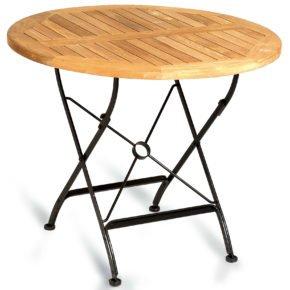 """SonnenPartner Gartentisch """"Oxford"""", Gestell aus Eisen, Tischplatte aus Teakholz, rund"""