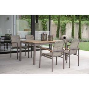 """Stern Gartenmöbel-Set mit Stuhl """"Lucy"""" und Tisch Aluminium/Old Teak"""