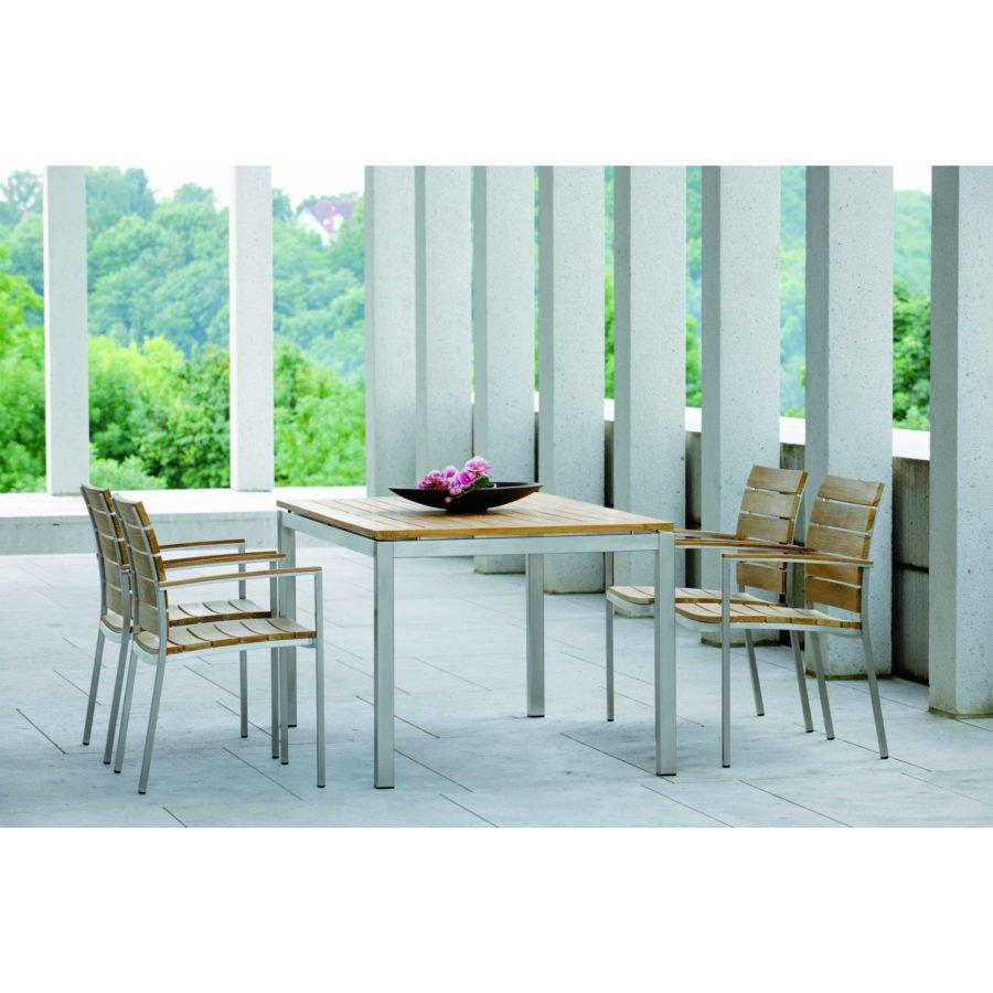 Gartentisch Teak Edelstahl.Stern Tischsystem Gartentisch Edelstahl Teak