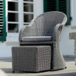 """Stern Sessel mit Hocker """"Mineo"""", Untergestell Aluminium, Geflecht Polyrattan basaltgrau, Kissen grau meliert"""