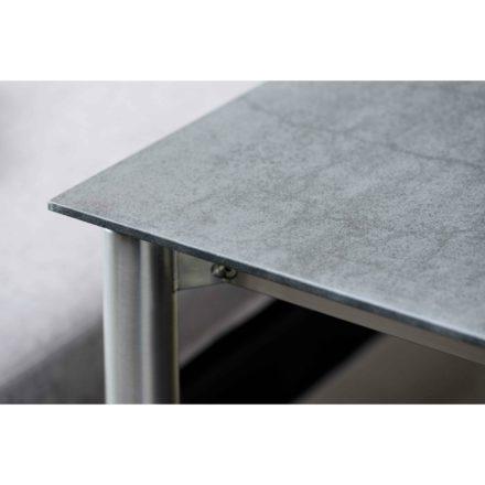 Stern Gartentisch Edelstahl/Keramik, Tischgestell Rundrohr, Tischplatte Porzellankeramik anthrazit schiefer