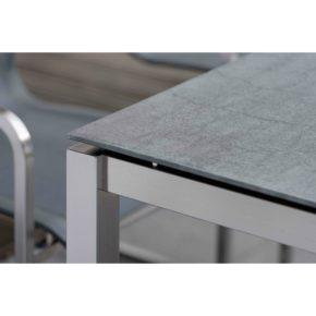 Stern Gartentisch Edelstahl/Keramik, Tischgestell Vierkantrohr, Tischplatte Keramik anthrazit Schiefer