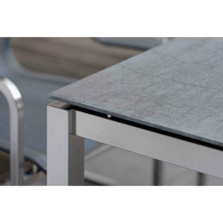 Stern Gartentisch Edelstahl/Keramik, Tischgestell Vierkantrohr, Tischplatte Porzellankeramik anthrazit schiefer