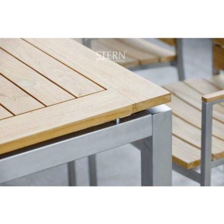 Stern Tischgestell aus Edelstahl Vierkantrohren, Tischplatte aus Teakholz