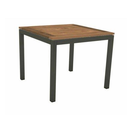 Stern Tischsystem, Gestell Aluminium anthrazit, Tischplatte Old Teak, Größe: 90x90 cm