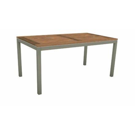 Stern Tischsystem, Gestell Aluminium graphit, Tischplatte Old Teak, Größe: 130x80 cm