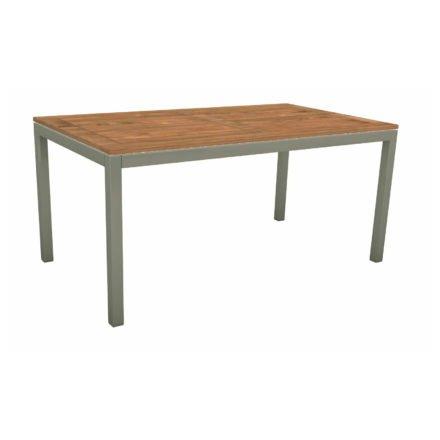 Stern Tischsystem, Gestell Aluminium graphit, Tischplatte Teakholz, Größe: 130x80 cm