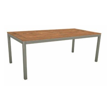 Stern Tischsystem, Gestell Aluminium graphit, Tischplatte Teakholz, Größe: 200x100 cm