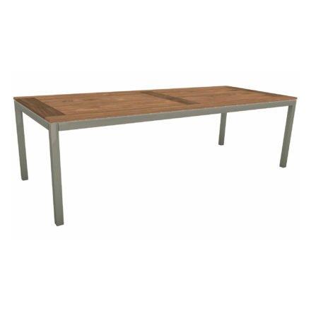 Stern Tischsystem, Gestell Aluminium graphit, Tischplatte Old Teak, Größe: 250x100 cm