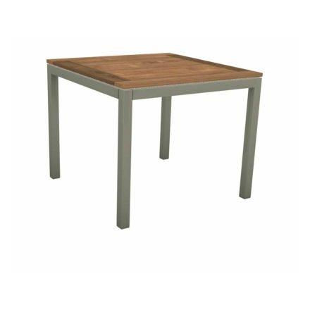 Stern Tischsystem, Gestell Aluminium graphit, Tischplatte Old Teak, Größe: 90x90 cm